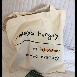Canvas Tote bag- Always Hungry at 10 New without t